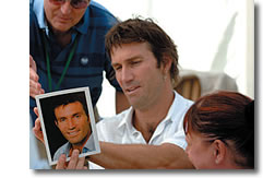 Pat Cash signing autographs in the Fairway Village hospitality suite. Wimbledon Gentlemen's Singles Champion in 1987