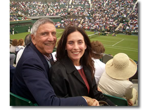 Merril B. and her father enjoying their day at The Championships, Wimbledon