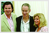 Three time Gentlemen's Singles Champion John McEnroe (1981, 1983 & 1984), meets guests at Wimbledon